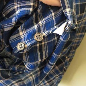 J. Crew Tops - J. Crew Ruffle Button Popover Shirt in Ocean Plaid